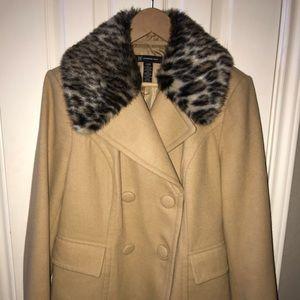 INC Waist length pea coat with fur collar  & cuffs